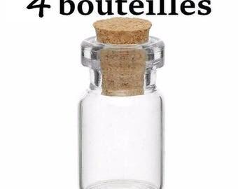 4 small glass vials 29x13mm jars