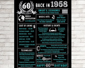 60th Birthday Chalkboard, 60 Years Ago in 1958, 60th for him, Born in 1958 60th Birthday Gift, 60th birthday him, 60th Birthday Gift, Sixty