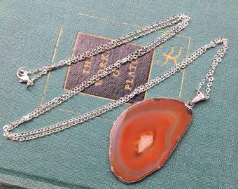 "Brown / Orange Agate Slice Pendant Necklace | Silver Painted Rim | 30"" Chain | Agate Slice Necklace"