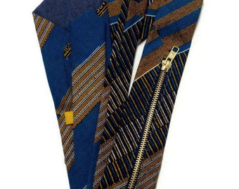 Mens Blue Kente Exposed Zipper Necktie With Concealed Pocket, Matching Pocket Square And Storage Pouch. Great Birthday, Fathers Day Gift Set