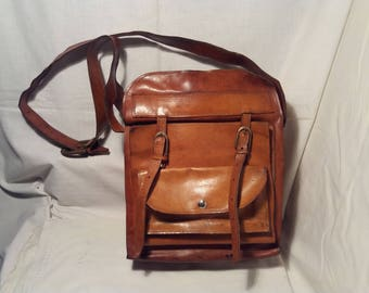 Vintage 1980's Brown Leather Handbag - Shoulder Bag - Large Size