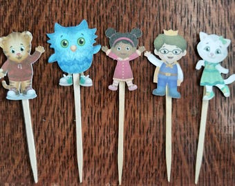 Daniel Tiger cupcake toppers - set of 12 double sided, Daniel Tiger birthday, cake topper,  centerpiece
