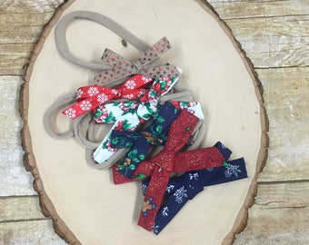 Christmas bows set of 6- baby bow- nylon band- baby girl bow- hand tied bow- ready to ship