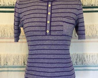 Vintage purple ribbed knit mod top 60s 70s Size S