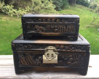 Vintage Chinese Carved Jewelry Boxes / Antique Asian Carved Wooden Box / Chinese Vintage Art