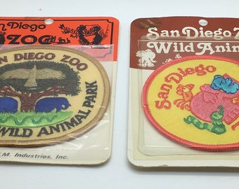 Vintage San Diego Zoo' s Patch Wild Animal  Zoo Elephant Eagle Tree Your Choice New Old Stock Lot Of 2 NOS Souvenir Sewing Iron On