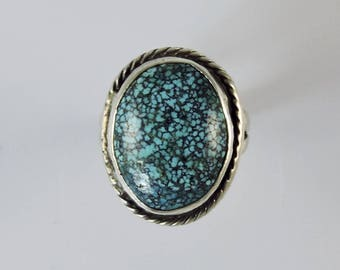 Spider Web Turquoise Navajo Silver Ring