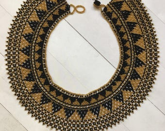 Vintage Handmade Native American Beaded Collar Necklace