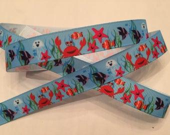 """Ocean Life 5/8"""" Grosgrain Ribbon"""