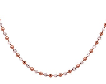 2.5 mm 925 Sterling Silver Rose Gold Plated Two-Tone Ball Necklace 16 To 20 Inch Length (SSN100165)
