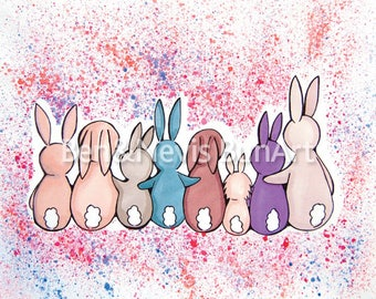 A4 Bunny butt watercolour and ProMarker illustration, (210mm x 297mm) colourful bunnies, nursery, bunny room art