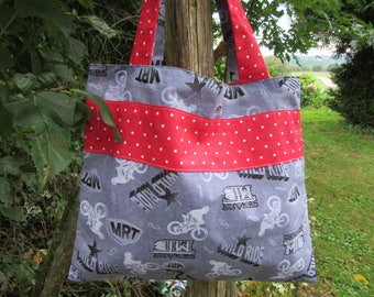 "bag tote bag/purse kids library ""wild ride"""