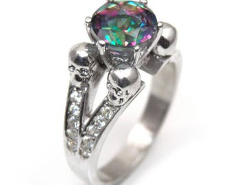 Four Head Skull Ring 2ct Mystic Topaz Diamond-Unique Round Cut Hand Crafted Engagement Ring (259)