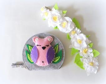 Kids felt wallet / OWL coin purse - OWL / holder wallet girl / Kids felt purse / handmade