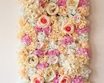 Champagne Stunning Wedding Flower Wall Backdrop Silk Flowers Panels Background For Wedding Bridal Photography 40x60cm