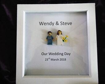 Mr  Mrs Bride and Groom mini lego figures wedding frame, fully personalised, keepsake gift, Bride  Groom