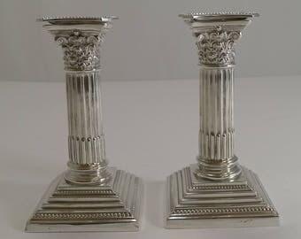 Petite Pair Antique English Corinthian Column Candlesticks c.1900 - Silver Plate