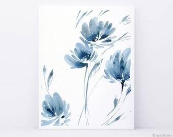 ORIGINAL watercolor, blue flower painting, abstract painting, blue watercolor art, blue flower art, blue flower artwork, abstract flower