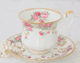 Vintage Royal Albert Bone China Sheraton Series 'Rosemary' Cup and Saucer, Lady Size, England