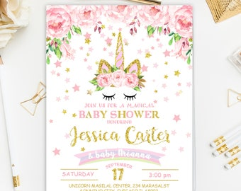 Unicorn Baby Shower Invitation, Pink and Gold Baby Shower Invitation, Floral Baby Shower Party,Rainbow Baby Shower Invitation, Unicorn Party