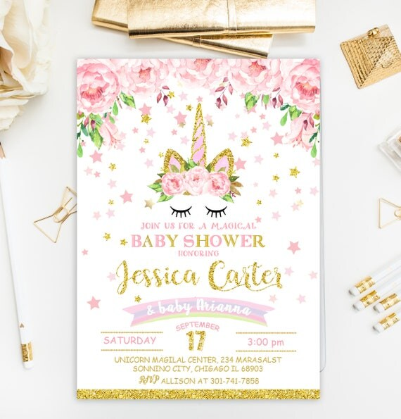 unicorn baby shower invitation pink and gold baby shower, Baby shower invitations