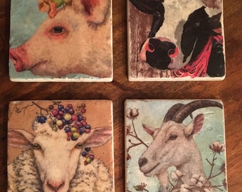 Coaster Set-Barnyard Animals-Coaster Set-Travertine tiles-Housewarming gift- pig Coaster set-cow coaster-sheep coaster- goat coaster-