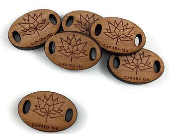 Canada OVAL 150 Tags - QTY-14/Laser Engraved/Wood Button/Handmade Button/Unique Button