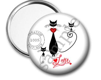 50 mm/gift Word black cat Pocket mirror of love