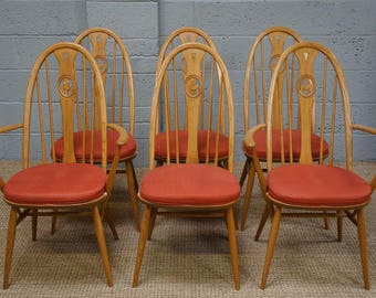 Vintage Set of 6 Ercol Elm 'Swan Back' Dining Chairs