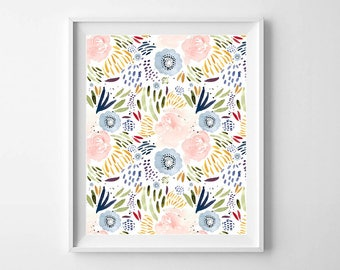 Watercolor Floral Print, Watercolor Print, Watercolor Flowers, Floral Art Print, Floral Wall Art Print, PRINTABLE ART, Floral Printable