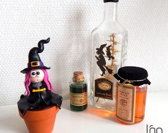 Sculpture of witch Fimo - original decorative object on the theme of magic