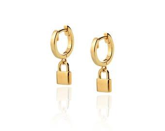 Huggie lock Earrings, Tiny Hoop Earrings, Silver Hoop lock Earrings, Small Pendant lock Earrings, gold lock earrings
