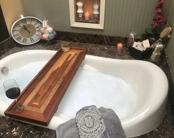 Rustic Bathtub Caddy Bathtub Tray Reclaimed Wood Style