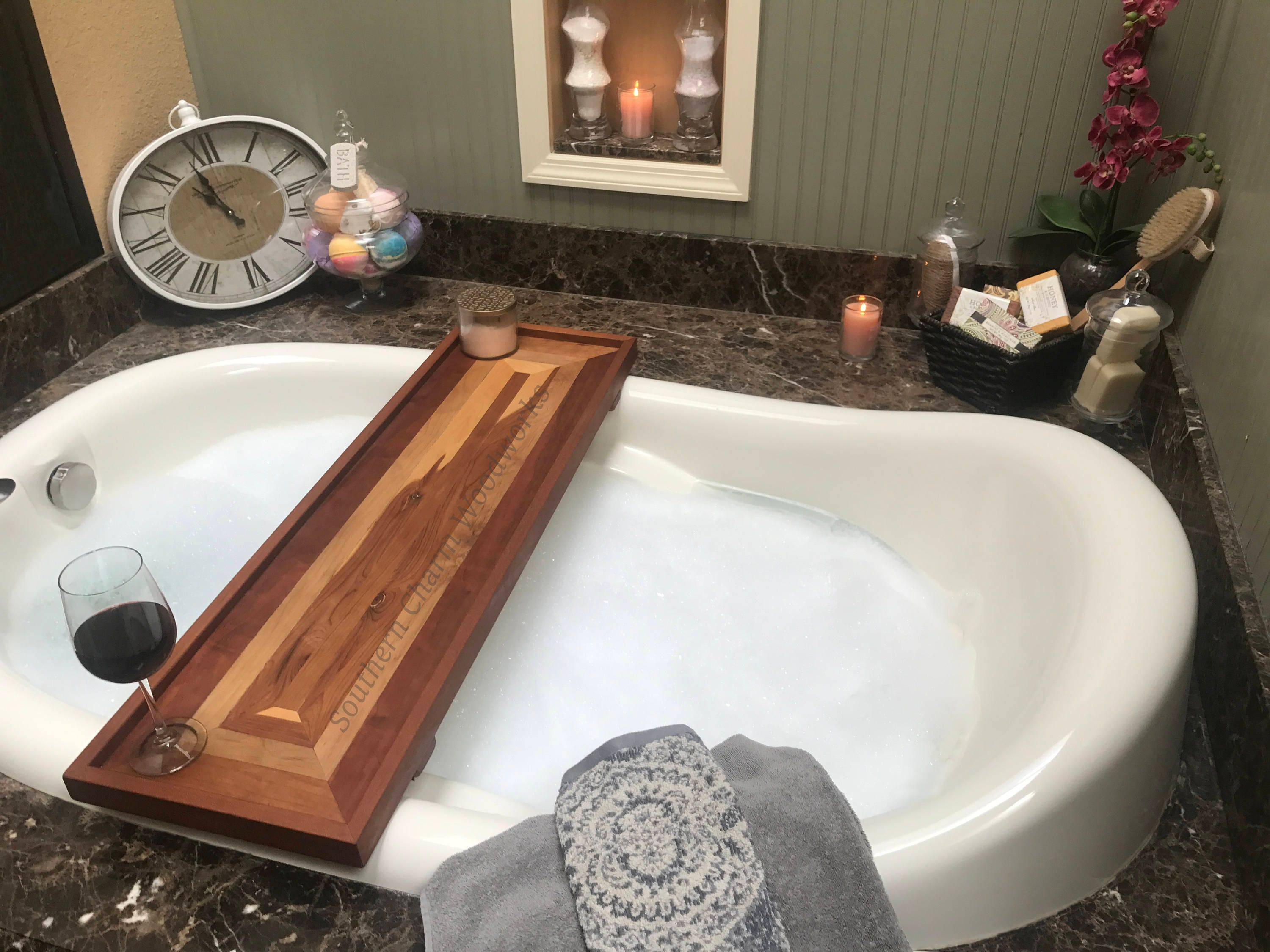 Wood Bath Tub Tray With Optional Wine Holder. Bathtub Tray Shelf, Luxury Bathtub  Tray, Bath Caddy Rectangle Pattern. Gift For Her.