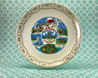 Vintage State Texas Plate/Texas State Plate/Commemorative State Texas Plate/Retro Collectible Texas Plate