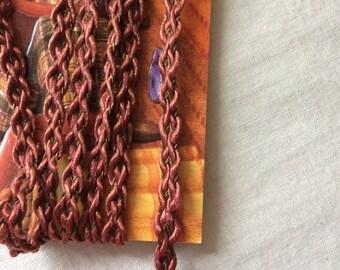 "Maroon Dark Red and Brown Braided Trim 1/4"" wide x 1-5/8 yards long"