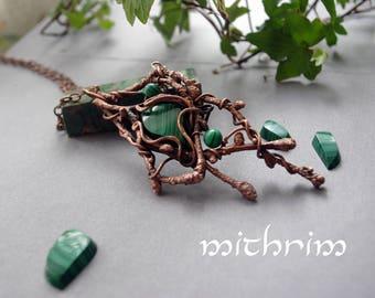 "Malachite Pendant ""Fairy"" Malachite necklace Nature Jewelry Gemstone Leaf Necklace Botanical jewelry Green stone Forest necklace copper leaf"