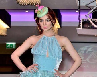 Pink Flamingo french macaroons small straw pillbox hat fascinator mint green pink blue Royal ascot epsim derby ladies day