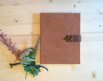 Journal Sketchbook Rust Suede with Brown Leather Strap and Metal Clasp