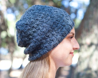 Pure Wool Hat / Winter Hat / Hand knitted Hat / Warm and Soft Hat for Women / Choose your color. (h-0007)