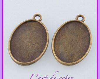 5 support cabochon ovale couleur BRONZE - pour cabochon 25 x 18 mm