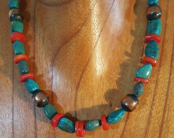 Copper Rustic Necklace/Red Coral Bead/Copper Pearls Necklace/Copper Necklace/Turquoise Necklace