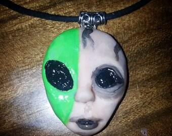 Extraterrestrial human Necklace, jewelry, pendant, alien necklace, creepy neckalce, strange jewelry, handmade jewelry, polymer clay