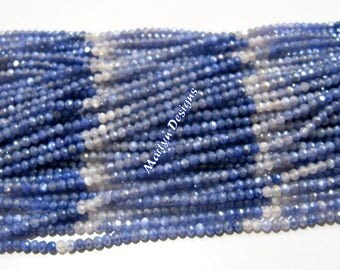 Genuine Moonstone Rondelle Faceted Beads 2.5 mm , Blue Sapphire Color AB Coated Shaded Moonstone Beads , Strand 13 inch long , Natural Beads
