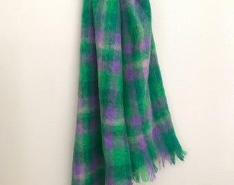 1960's Plaid Tartan Purple and Green Mohair Shawl Scarf