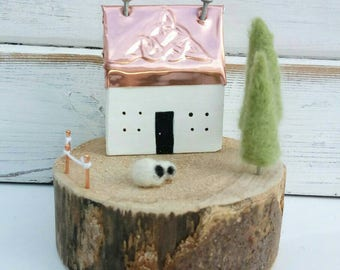 Metal Embossed Highland Bothy. Wooden Cottage. Wooden House. Sheep. Celtic Design. Scottish House. Needlefelted. Scottish Scene. Christmas.