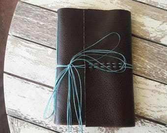 Brown And Blue Vegan Faux Leather Journal
