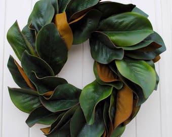 Magnolia wreath~16 inch magnolia leaf wreath~magnolia leaves~farmhouse decor~rustic wreath~greenery wreath~all occasion wreath