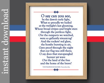 Star Spangled Banner, Veterans Day, history printable, Fourth of July, National Anthem, lyrics, USA history, Americana, patriotic print