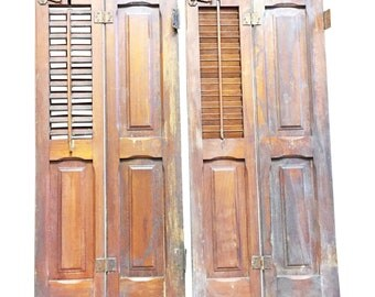 Vintage WOOD SHUTTER PAIR Louvered brown interior panel wooden old chic architectural salvage farm house table top barn repurposing shabby